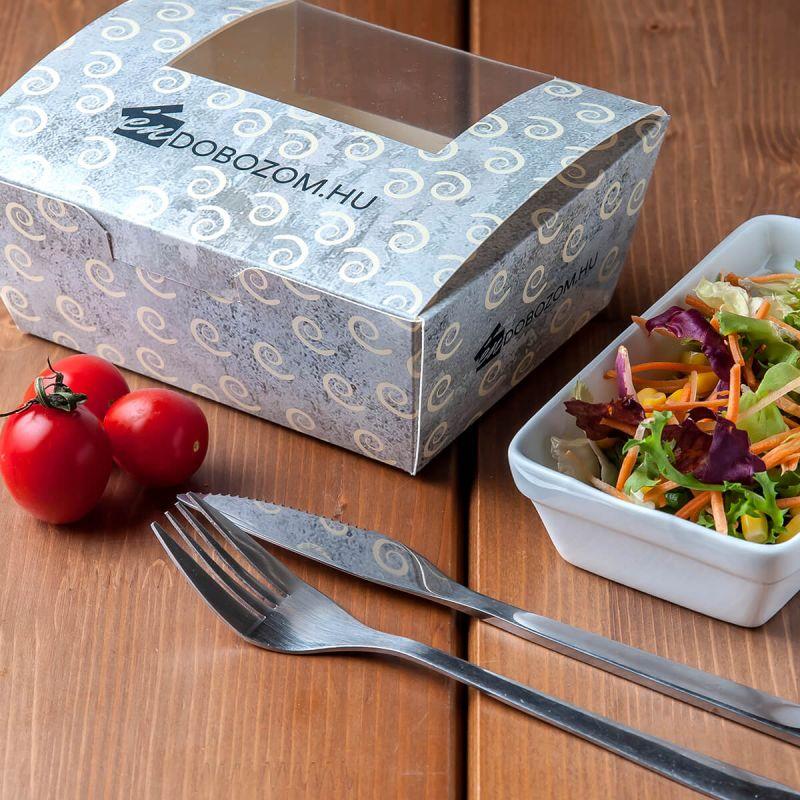 egyedi grafikával ellátott salátás doboz