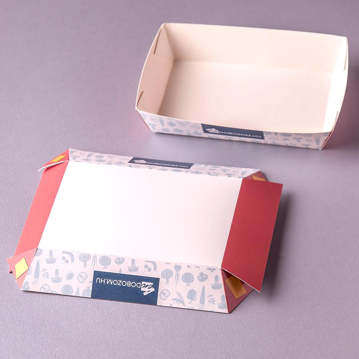 ragasztott papírtálca lapra szerelve