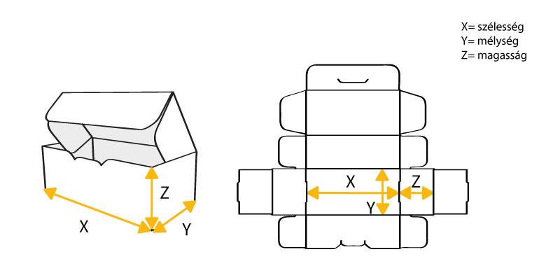 felülzáródó doboz rajza